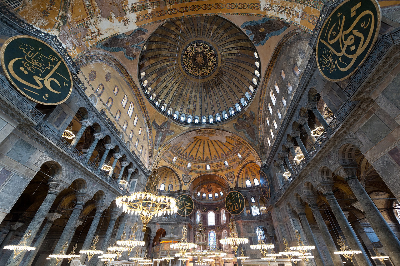 Elaborate interior design at Hagia Sophia in Istanbul, Turkey