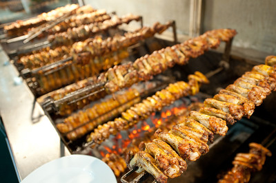 Kababs over a grill in Istanbul, Turkey