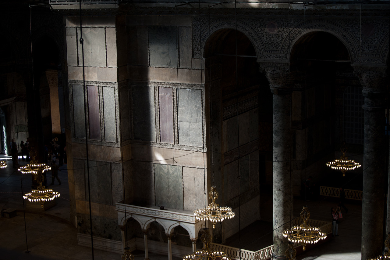 Light cast through window inside Hagia Sophia - Istanbul, Turkey