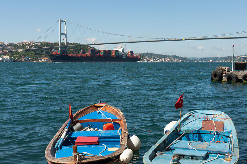 Wide shot of boats and harbor in Istanbul, Turkey