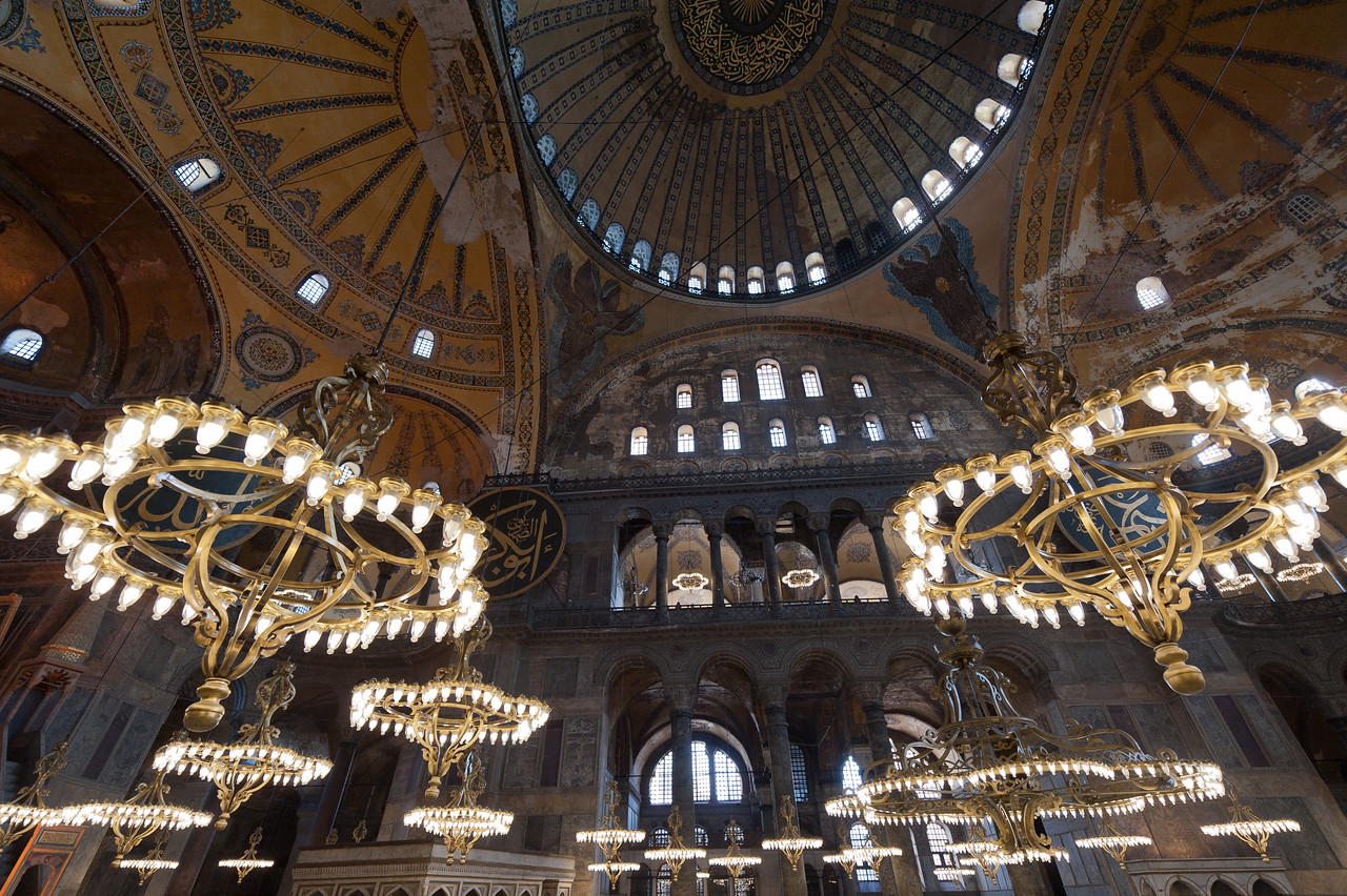 Close-up shot of lights inside Hagia Sophia in Istanbul, Turkey