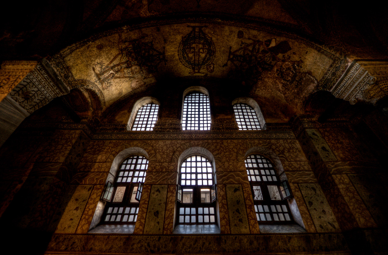 Looking out large windows from inside Hagia Sophia - Istanbul, Turkey