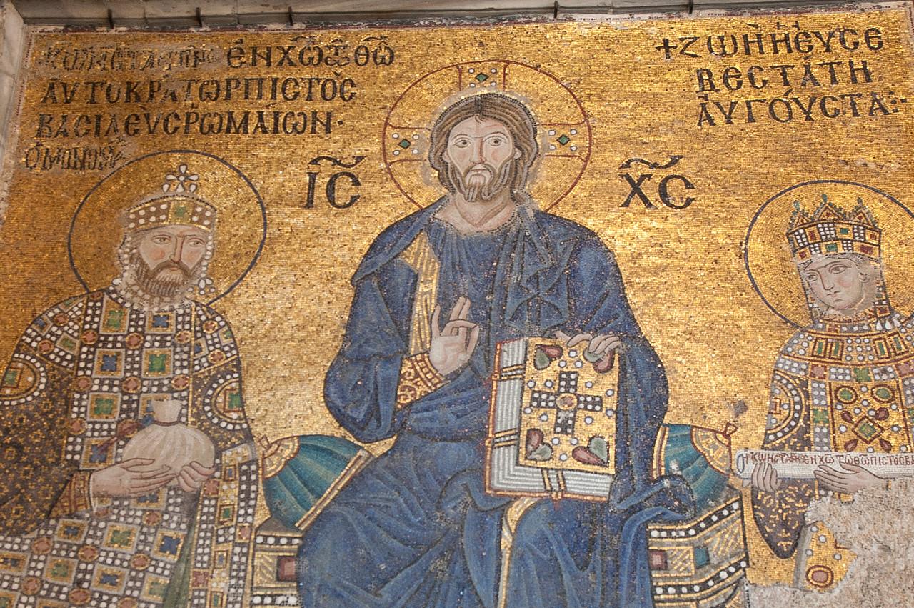Religious fresco inside Hagia Sophia in Istanbul, Turkey