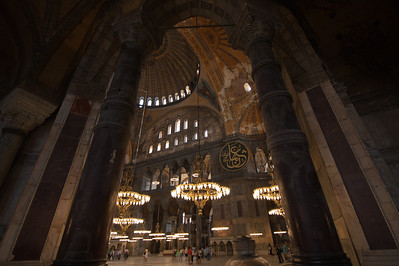 Large pillars and lights inside Hagia Sophia in Istanbul, Turkey