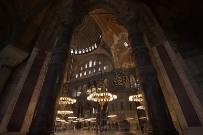 Large pillars and lights inside Hagia Sophia in Istanbul, Turkey