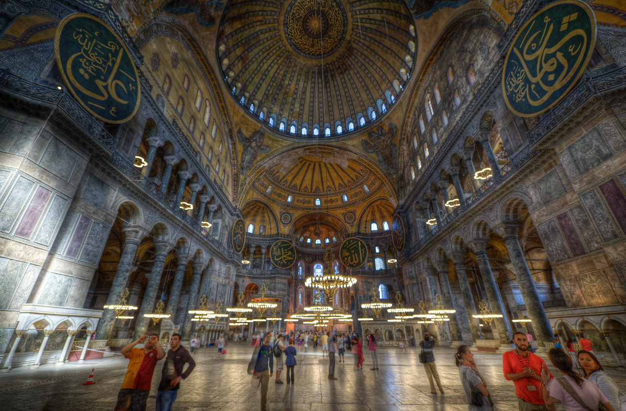 Tourists inside Hagia Sophia in Istanbul, Turkey
