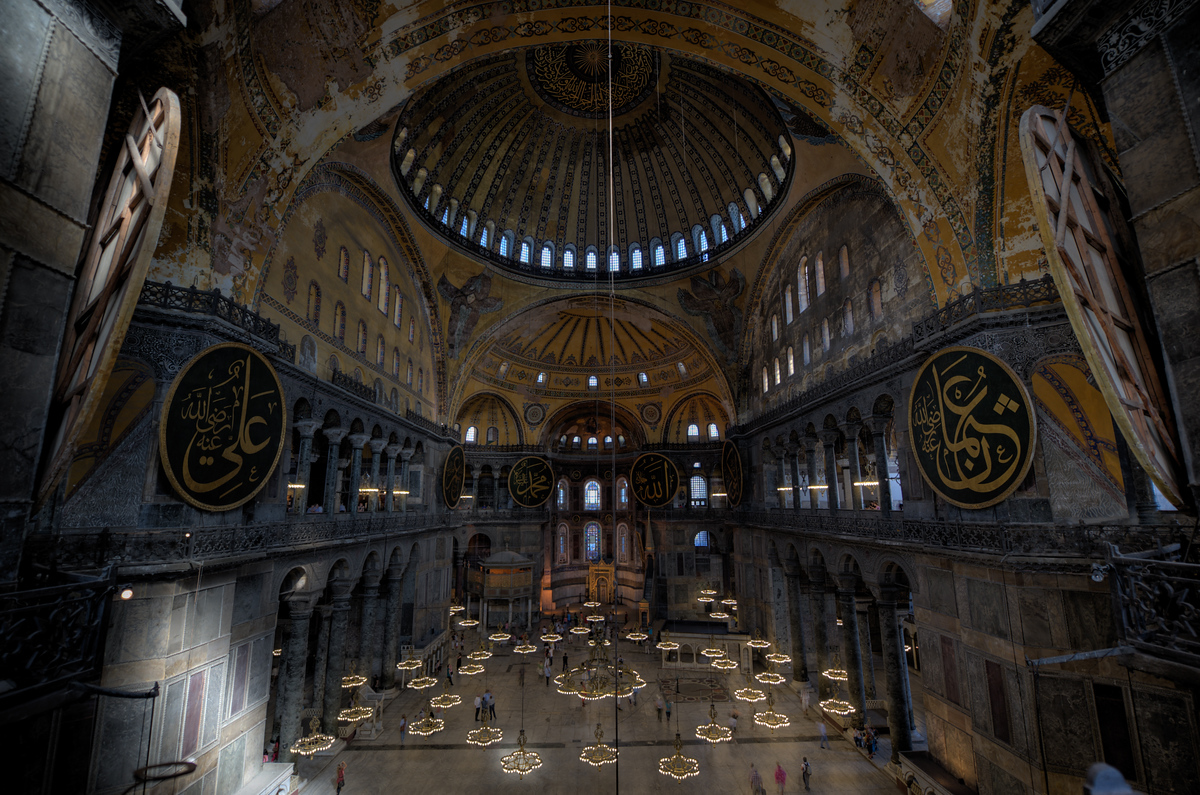 Inside the Haiga Sophia in Istanbul, Turkey