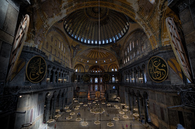 Looking down on the interior of Hagia Sophia in Istanbul, Turkey