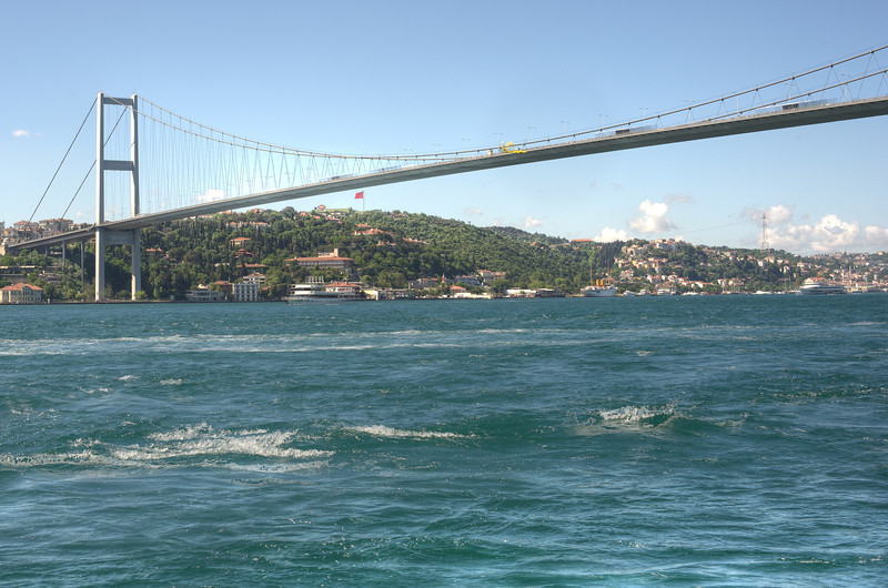 Waves splashing beneath the bridge in Istanbul, Turkey