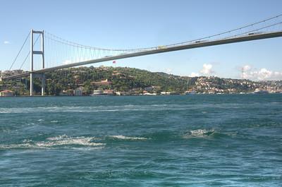 Waves splashing beneath the bridge in Istanbul, Turkey