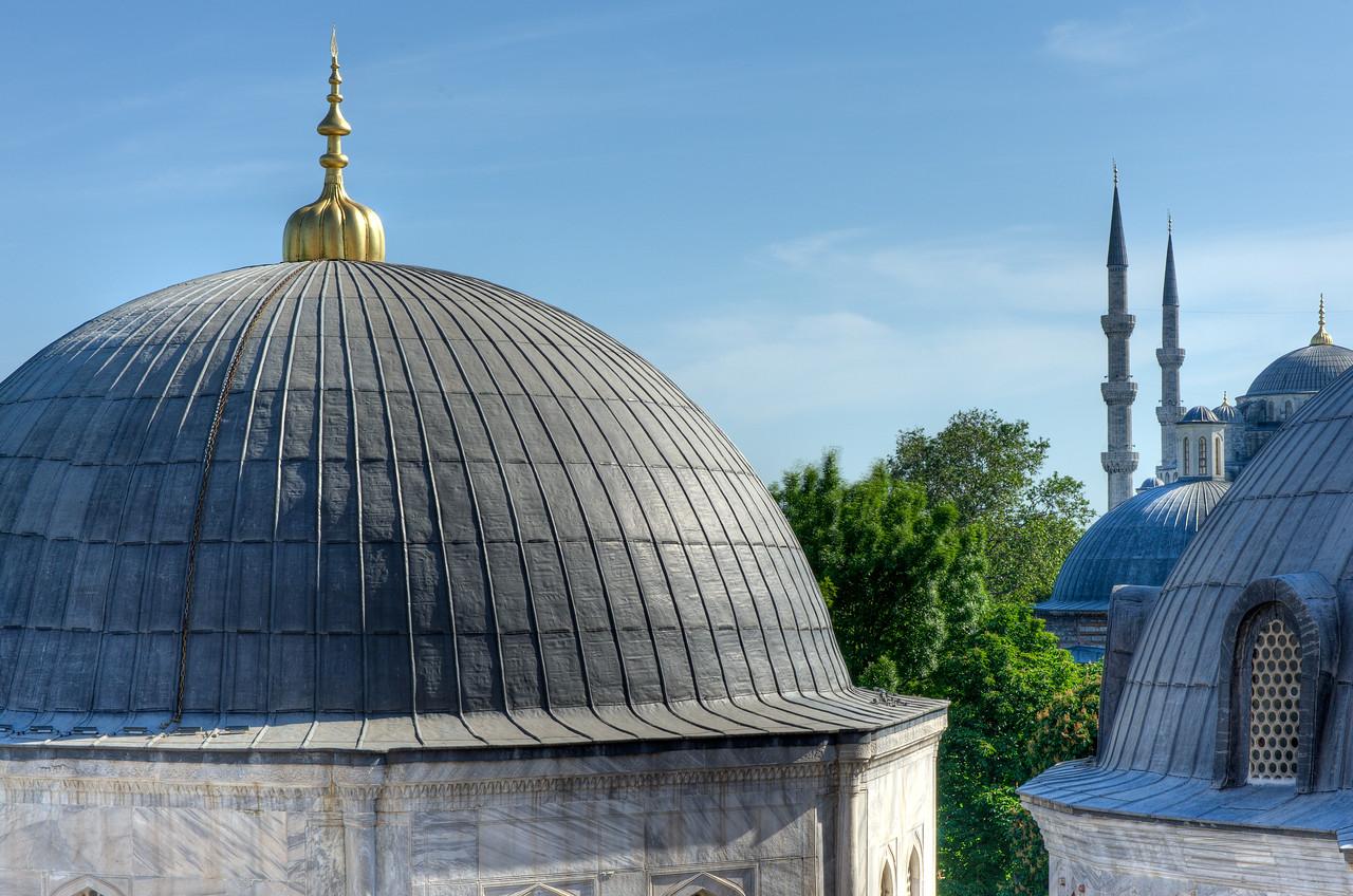 Stupas outside Hagia Sophia in Istanbul, Turkey