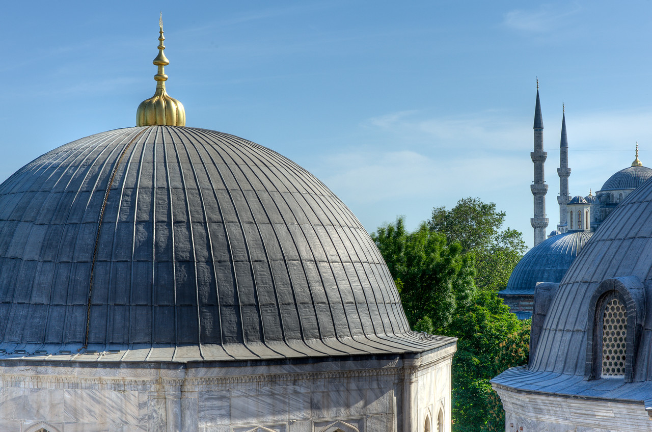Stupas outside Hagia Sophia in Istanbul, Turkey