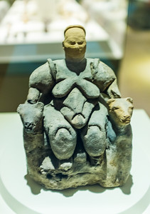 Seated goddess flanked by two felines from Çatalhöyük at the Museum of Anatolian Civilizations in Ankara