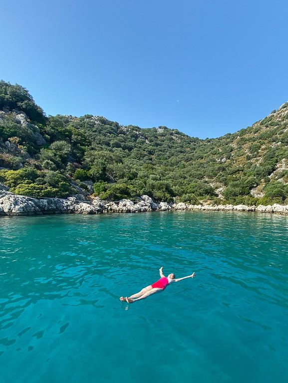 Amanda swimming in the Mediterranean