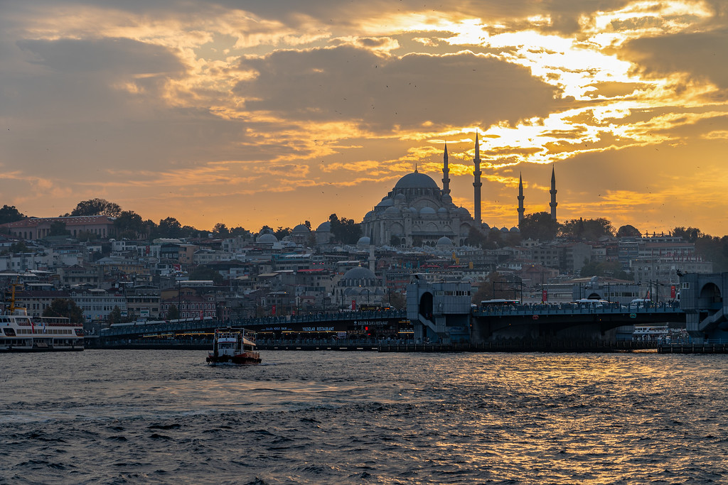 Sunset on the Bosphorus in Istanbul