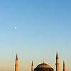 Hagia Sophia sunset with moon