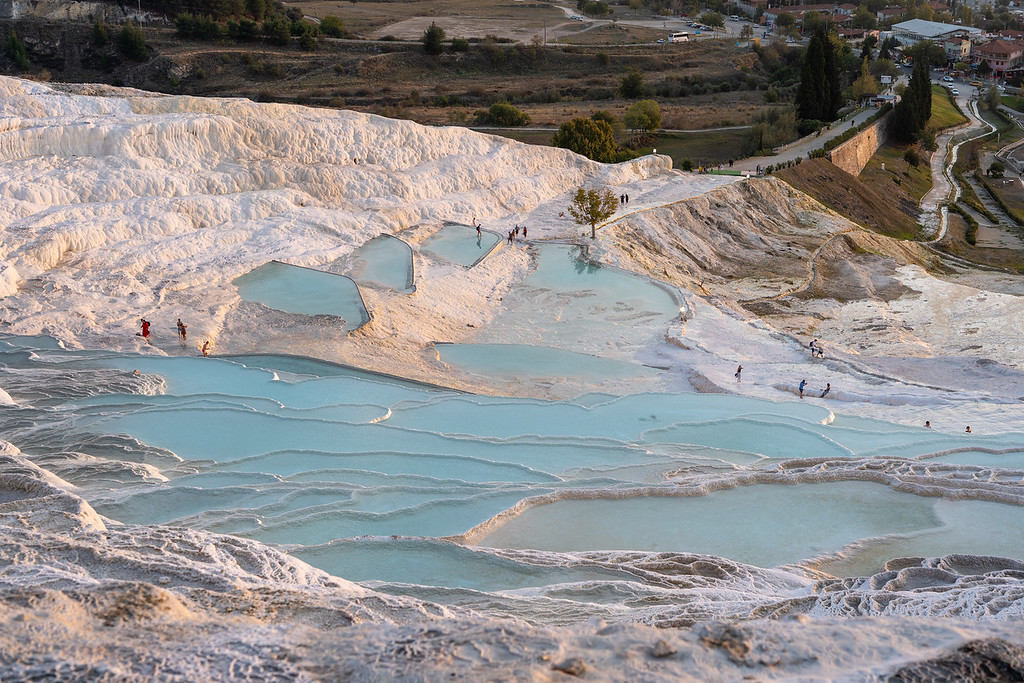 Pamukkale pools at sunset