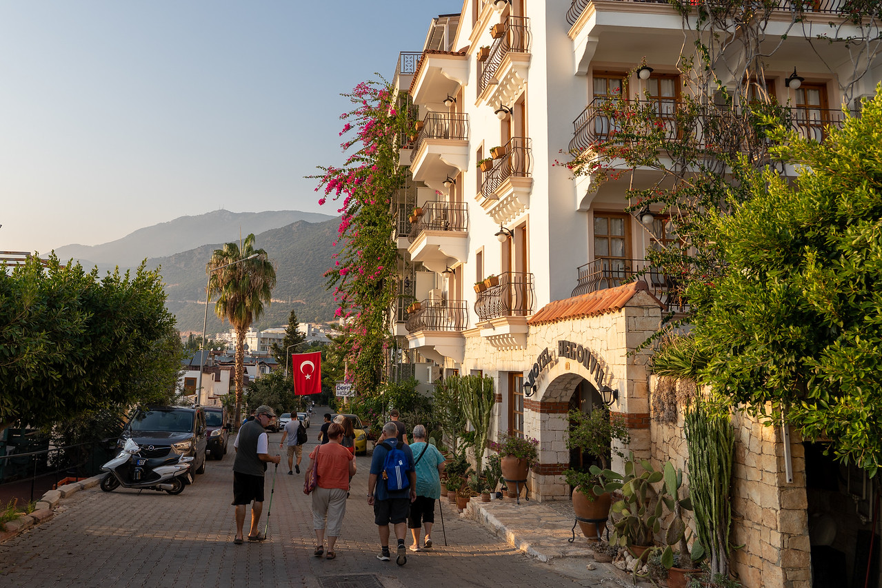 Walking down a street in Kaş