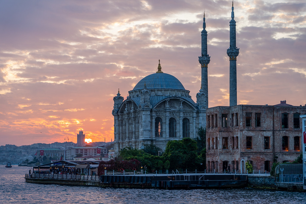 Ortaköy Mosque at sunset in Istanbul