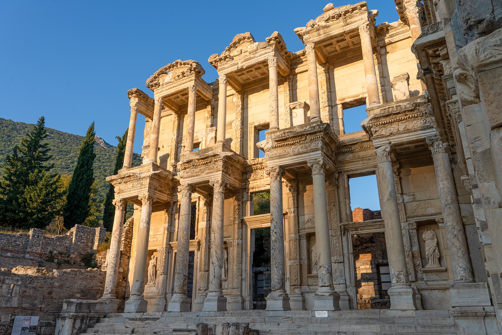 Library of Celsus at sunrise in Ephesus