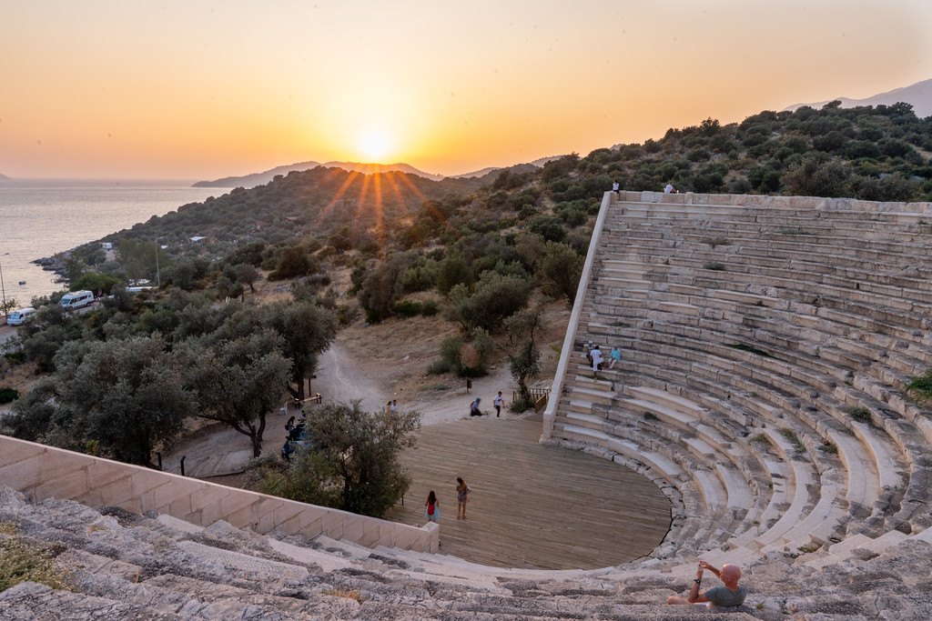 Sunset at Antiphellos Ancient Theatre in Kaş