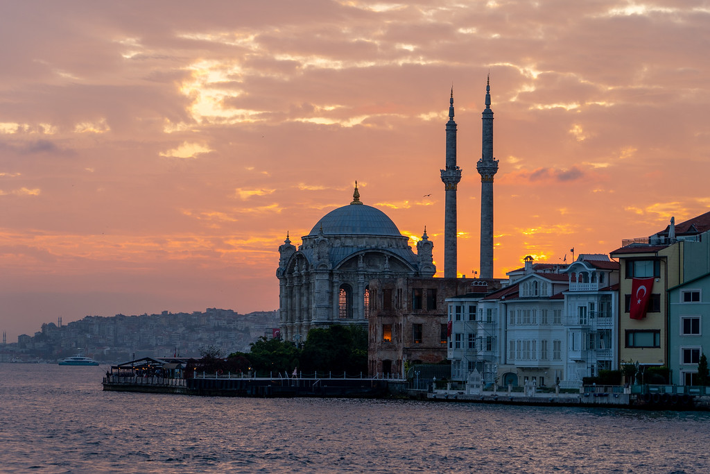 Ortaköy Mosque at sunset