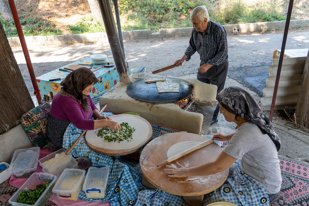 Family making Gözleme in Turkey
