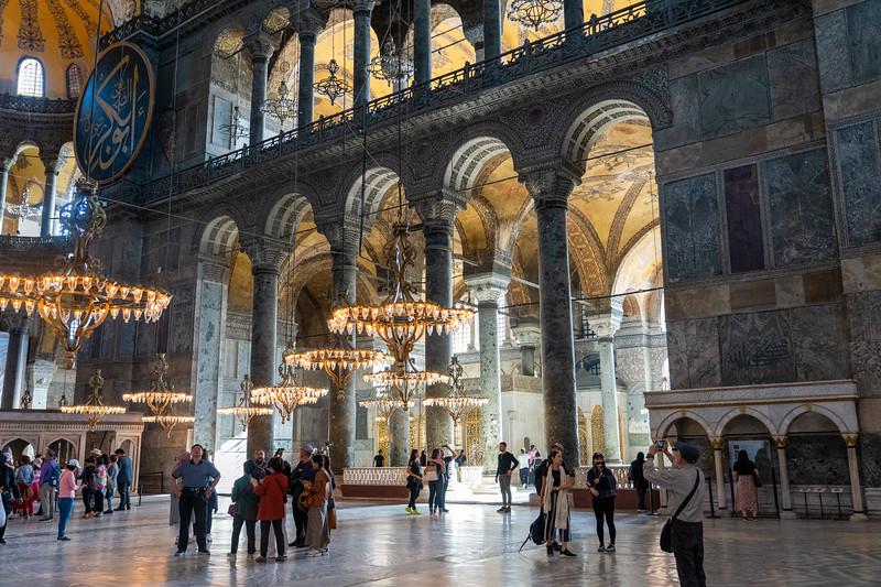 Columns inside Hagia Sophia