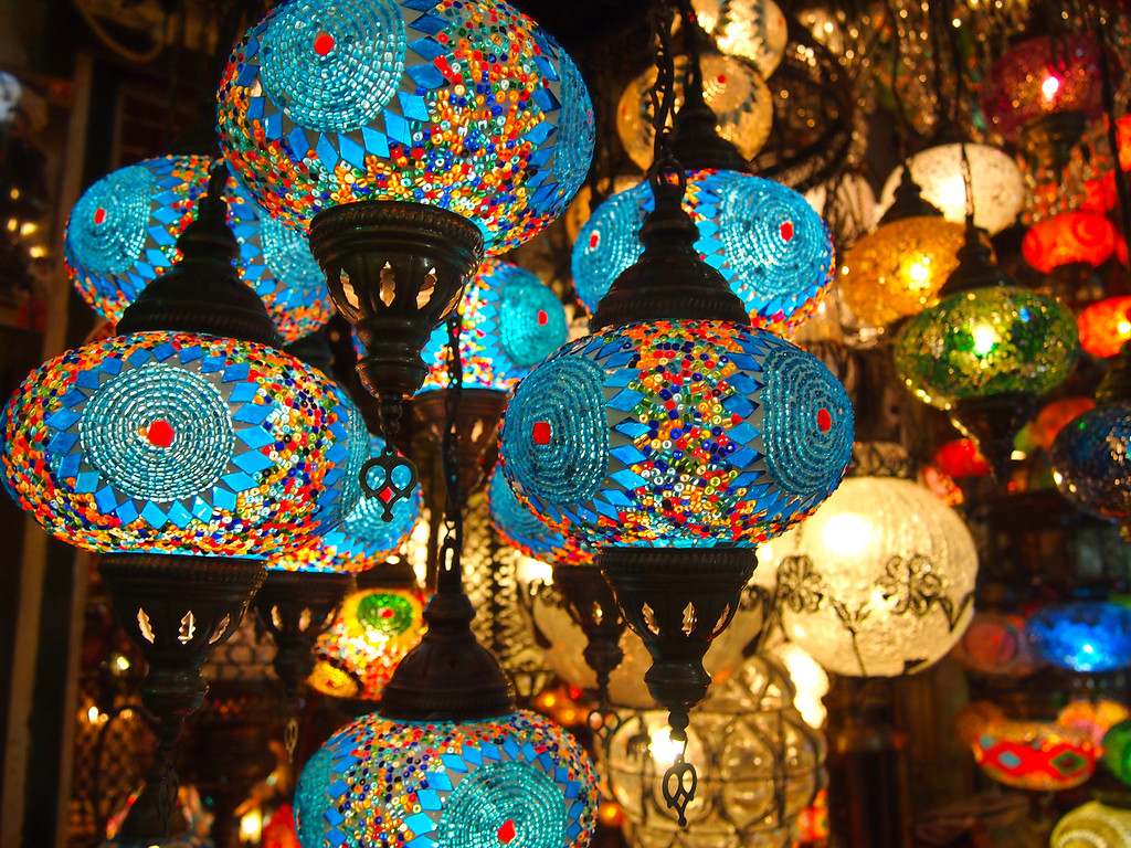 Lanterns inside the Grand Bazaar in Istanbul