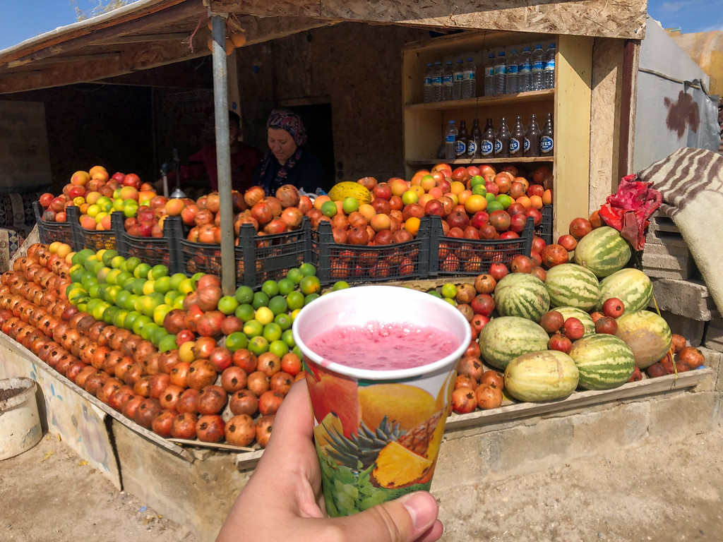Fresh-squeezed pomegranate juice in Turkey
