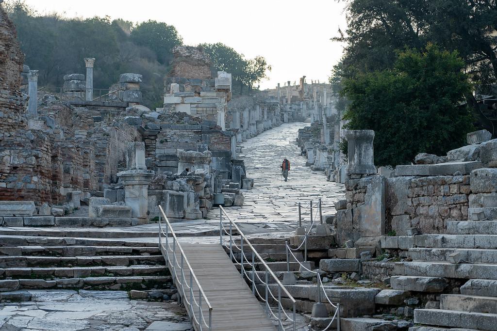 Lone tourist at Ephesus