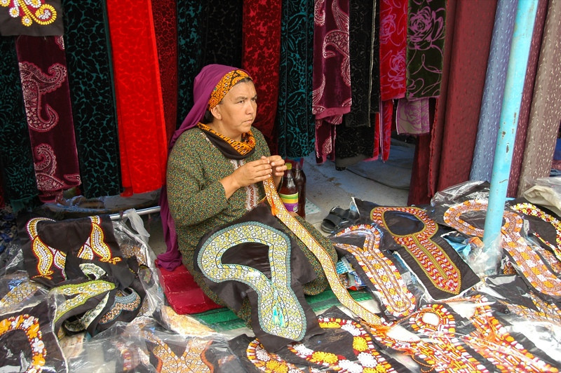 Making the Neckline at Tolkuchka Market - Ashgabat, Turkmenistan