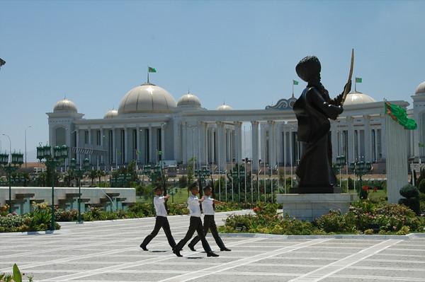 Marching at Independence Monument - Ashgabat, Turkmenistan