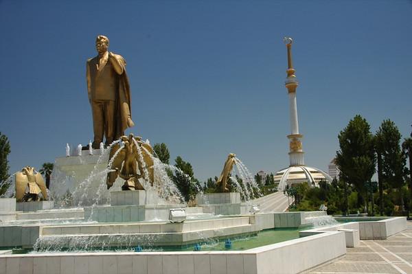 Turkmenbashi Statue and Fountains - Ashgabat, Turkmenistan