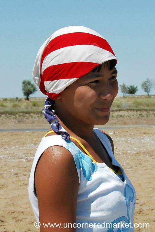 Girl with American Flag Bandana - Turkmenbashi, Turkmenistan