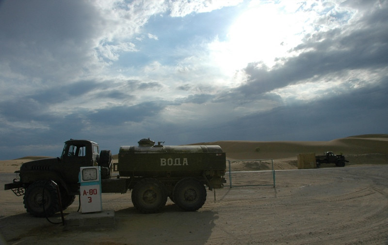 Water Truck in the Desert - Jerbent, Turkmenistan