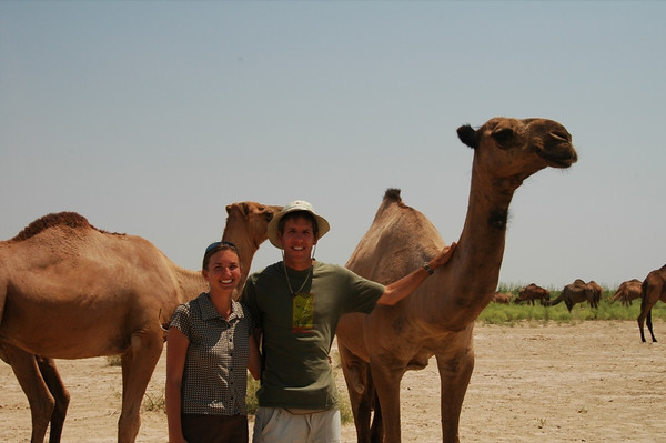 Dan and Audrey with Camels - Gonur Depe, Turkmenistan