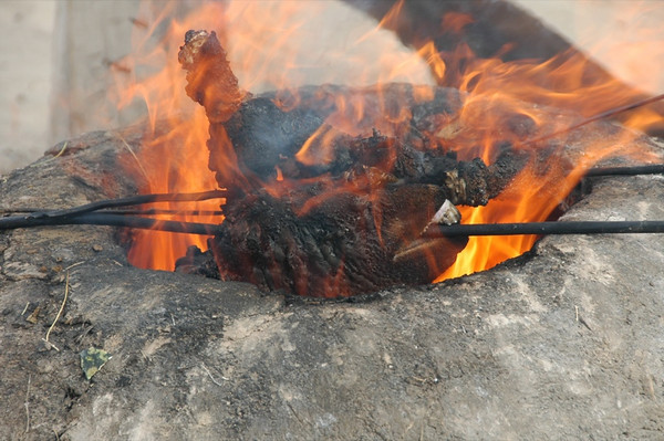 Goat Head in Fire - Jerbent, Turkmenistan