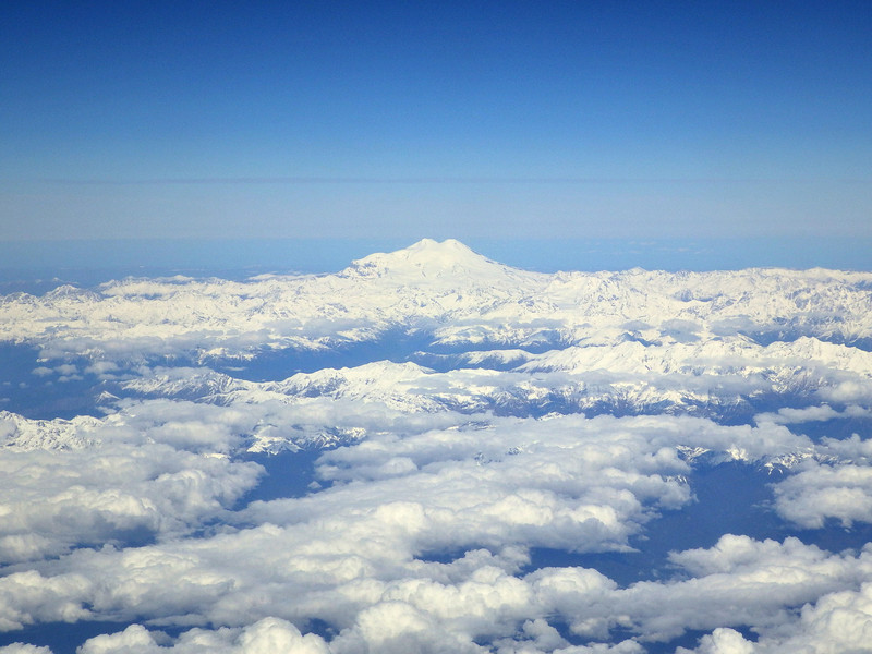 Flying by Mount Elbrus