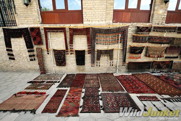 Kilim carpets on display