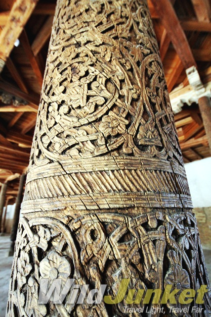 Detailed carving on the 218 columns that hold up the Juma Mosque in Khiva