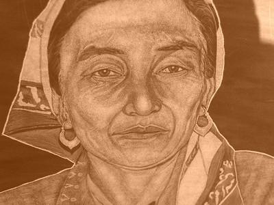 Engraved Image on Tombstone - Nukus, Uzbekistan