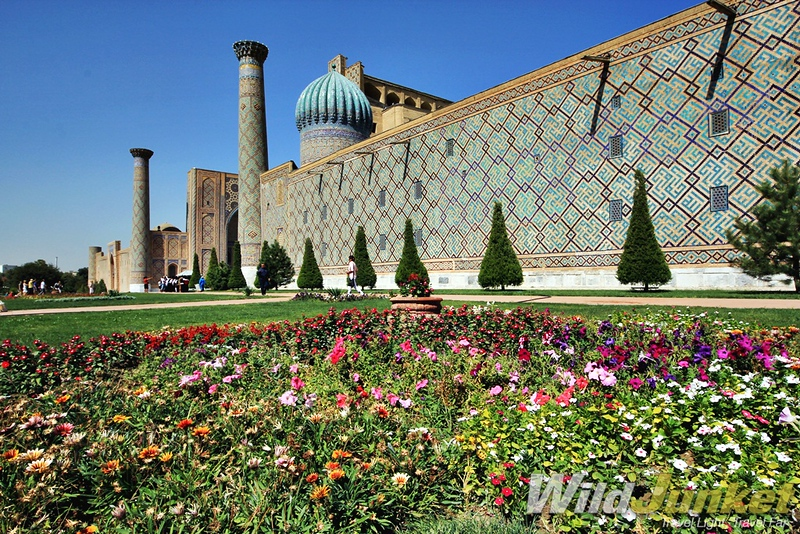 Samarkand's Registan surrounded by flowers