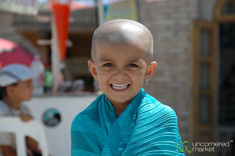 Smile! Girl with Shaved Head - Bukhara, Uzbekistan