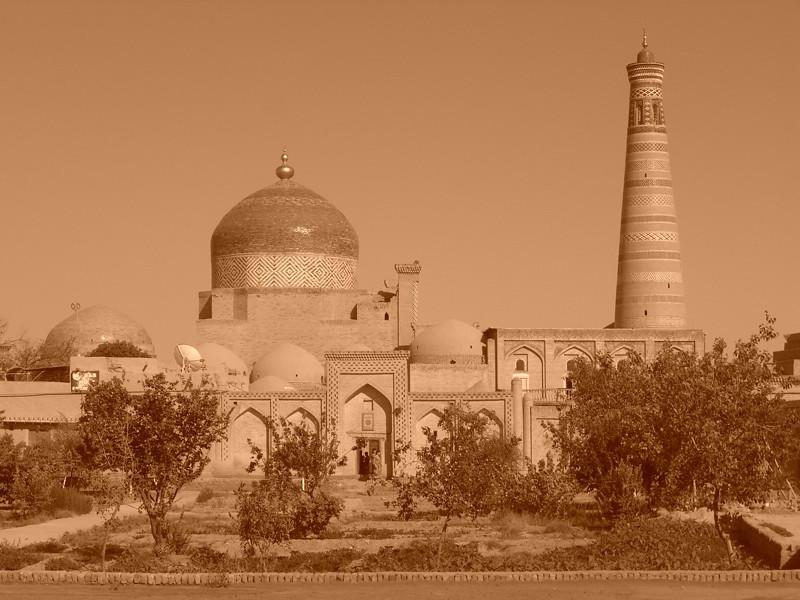 Old Khiva's Skyline in Sepia - Khiva, Uzbekistan