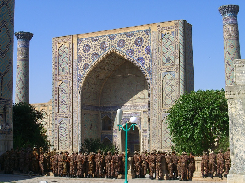 Young Military Guards at  the Registan - Samarkand, Uzbekistan