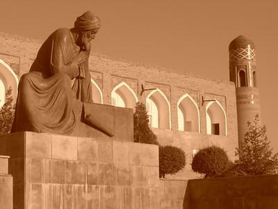 Pensive Statue at Khiva's Main Gate- Khiva, Uzbekistan