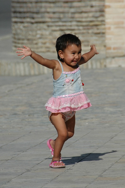 Excited Little Girl - Bukhara, Uzbekistan