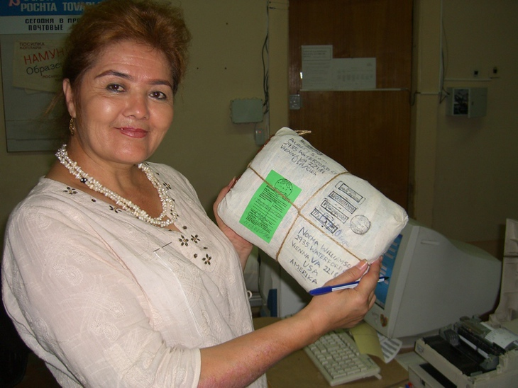 Post Office Woman with our Package - Tashkent, Uzbekistan