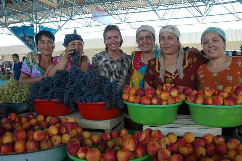 Fruit Vendors with Audrey at Krytyy Market- Bukhara, Uzbekistan